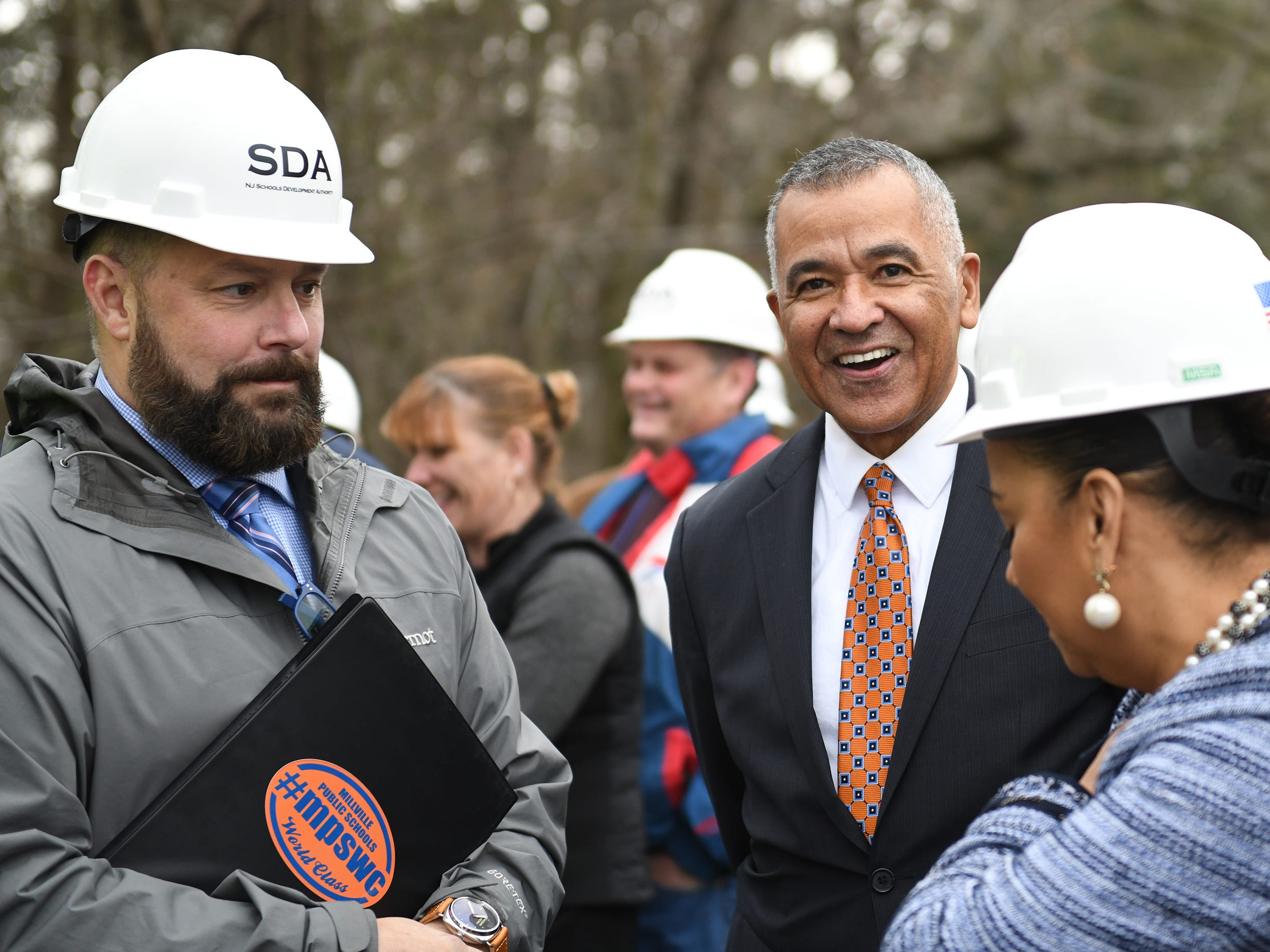 Superintendent David Gentile (left) and Mayor Michael Santiago took part in the groundbreaking ceremony at Millville High School on Thursday, Feb. 7, 2019.