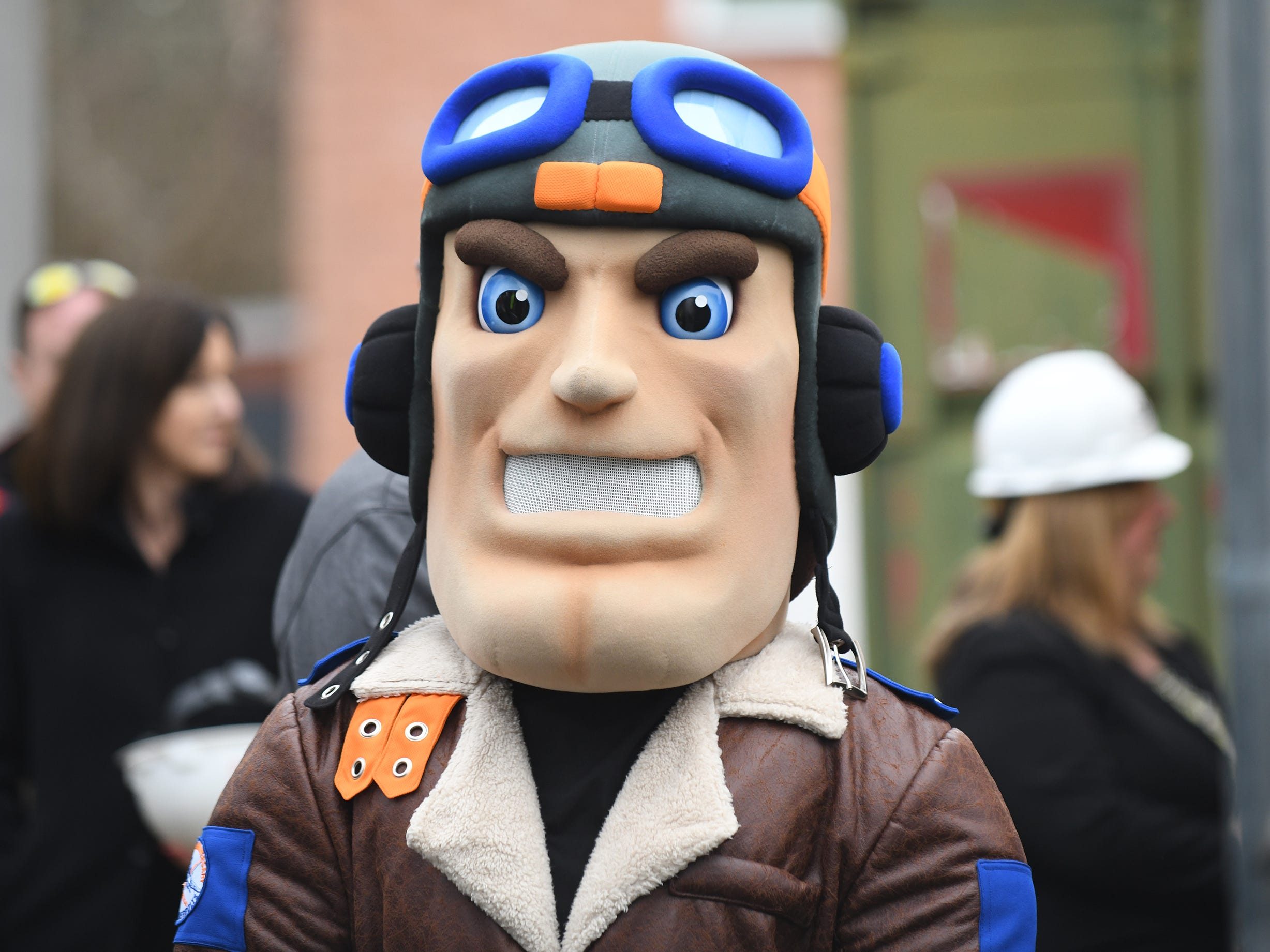 Maverick, the Millville High School mascot, took part in the groundbreaking ceremony on Thursday, Feb. 7, 2019.