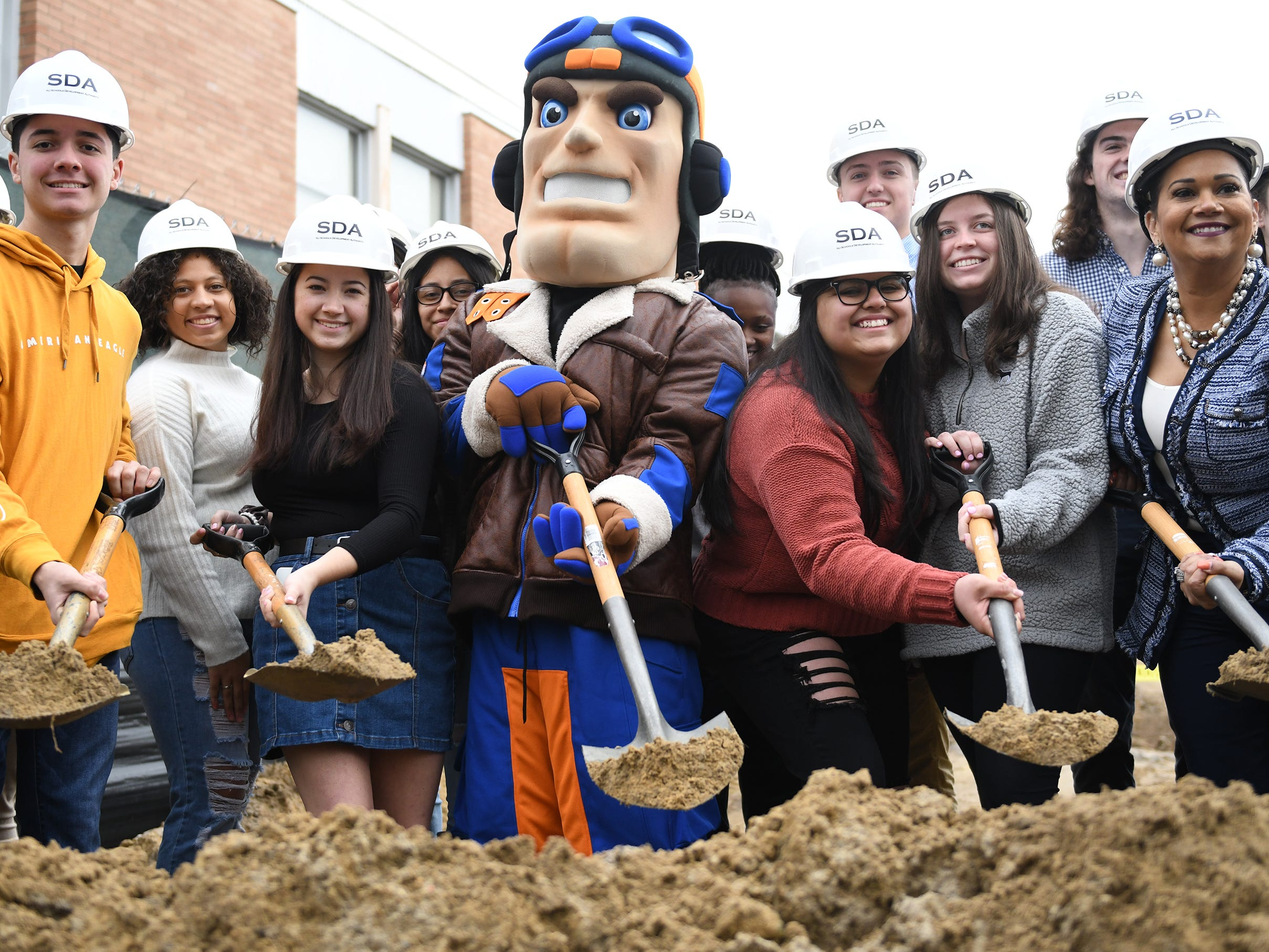 The SDA, joined by students, the school mascot Maverick, legislative representatives and school officials, hosted a groundbreaking event to kick off construction of the addition to Millville High School on Thursday, Feb. 7, 2019.