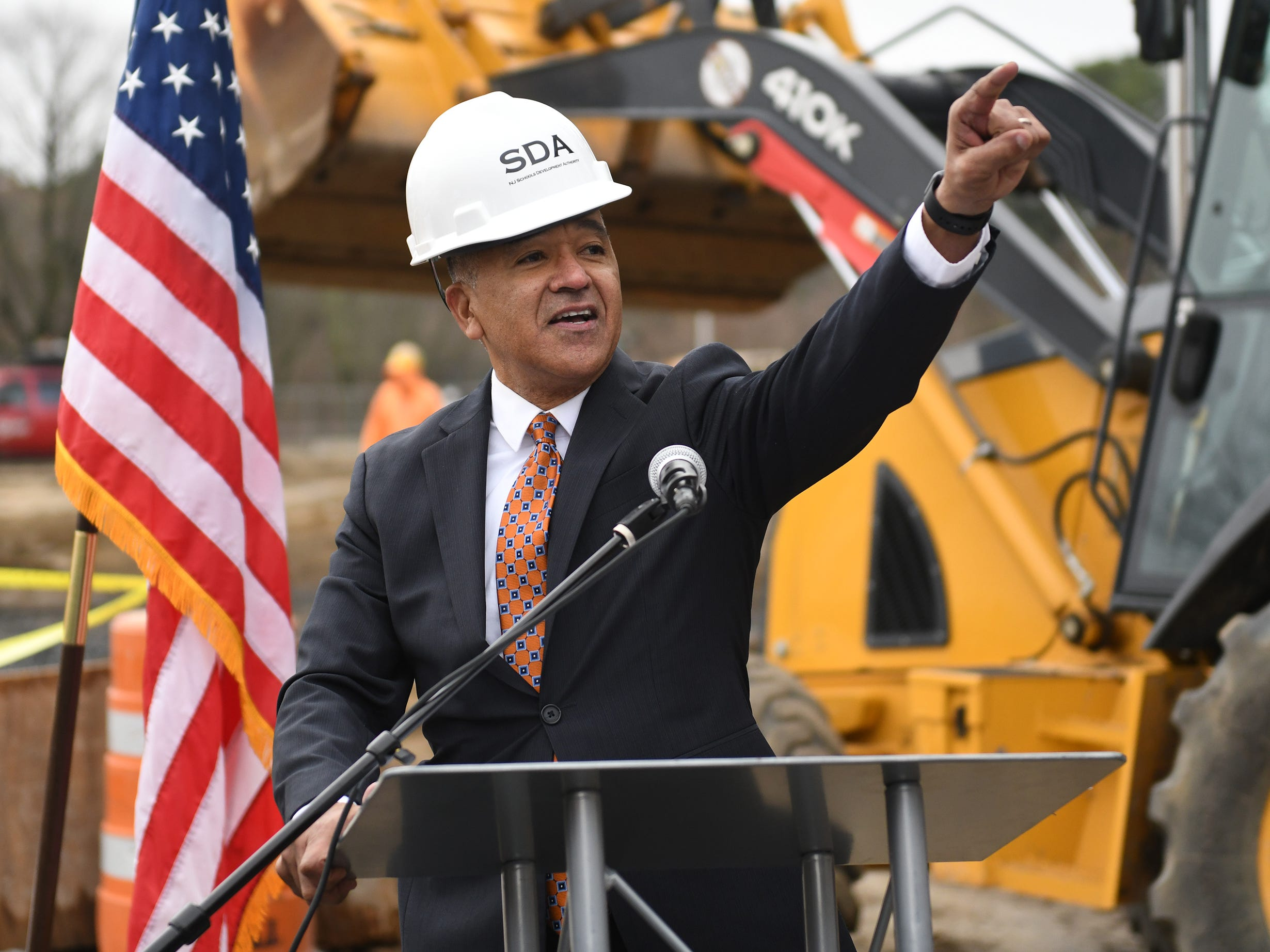 Millville Mayor Michael Santiago speaks during the groundbreaking ceremony at Millville High School on Thursday, Feb. 7, 2019.