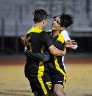 Golden West's Michael Baragon celebrates with Sebastian Caballero after making the first goal in the second half against El Diamante at Groppetti Stadium on Feb 6, 2019.
