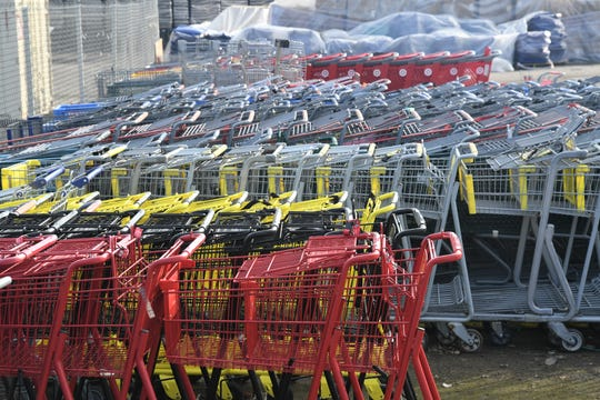 Hundreds of shopping carts fill a city-owned lot on Murray Avenue and Burke Street. More than 10,000 carts have been collected since council passed the shopping cart ordinance in 2013.