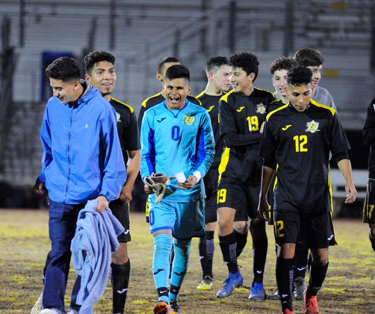 Golden West celebrates after winning against El Diamante at Groppetti Stadium on Feb 6, 2019.