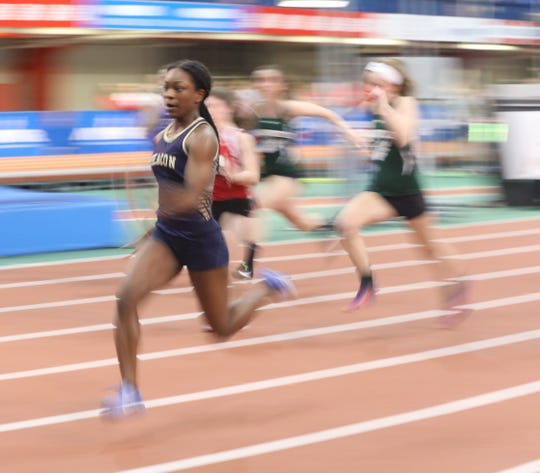Beacon's Brianna Richardson wins the Girls 55 Meter Dash during the Section 1 Class B track & field Championships at the Armory in Manhattan Feb. 6, 2019.