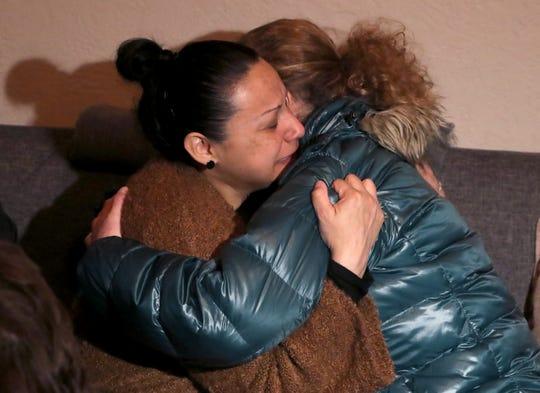 Valerie Reyes' mother, Norma Sanchez of New Rochelle, hugs a visitor at her New Rochelle home Feb. 7, 2019. Reyes dead body was found in Greenwich, Conn. Feb, 5.