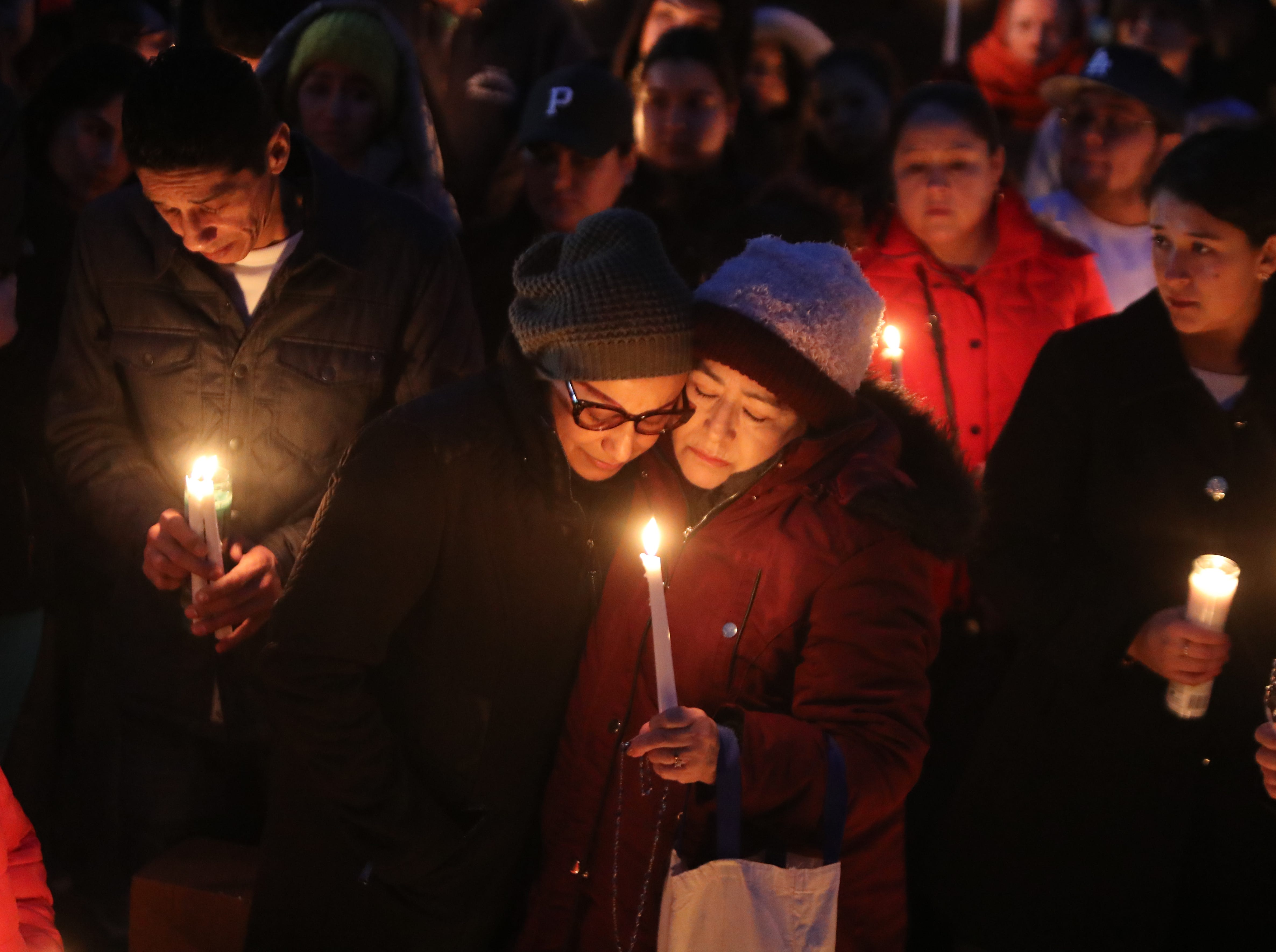 Norma Sanchez of New Rochelle, center left, at a vigil for her daughter, Valerie Reyes at Glen Island Park in New Rochelle Feb. 7, 2019. Reyes body was found in Greenwich, Conn. Feb, 5.