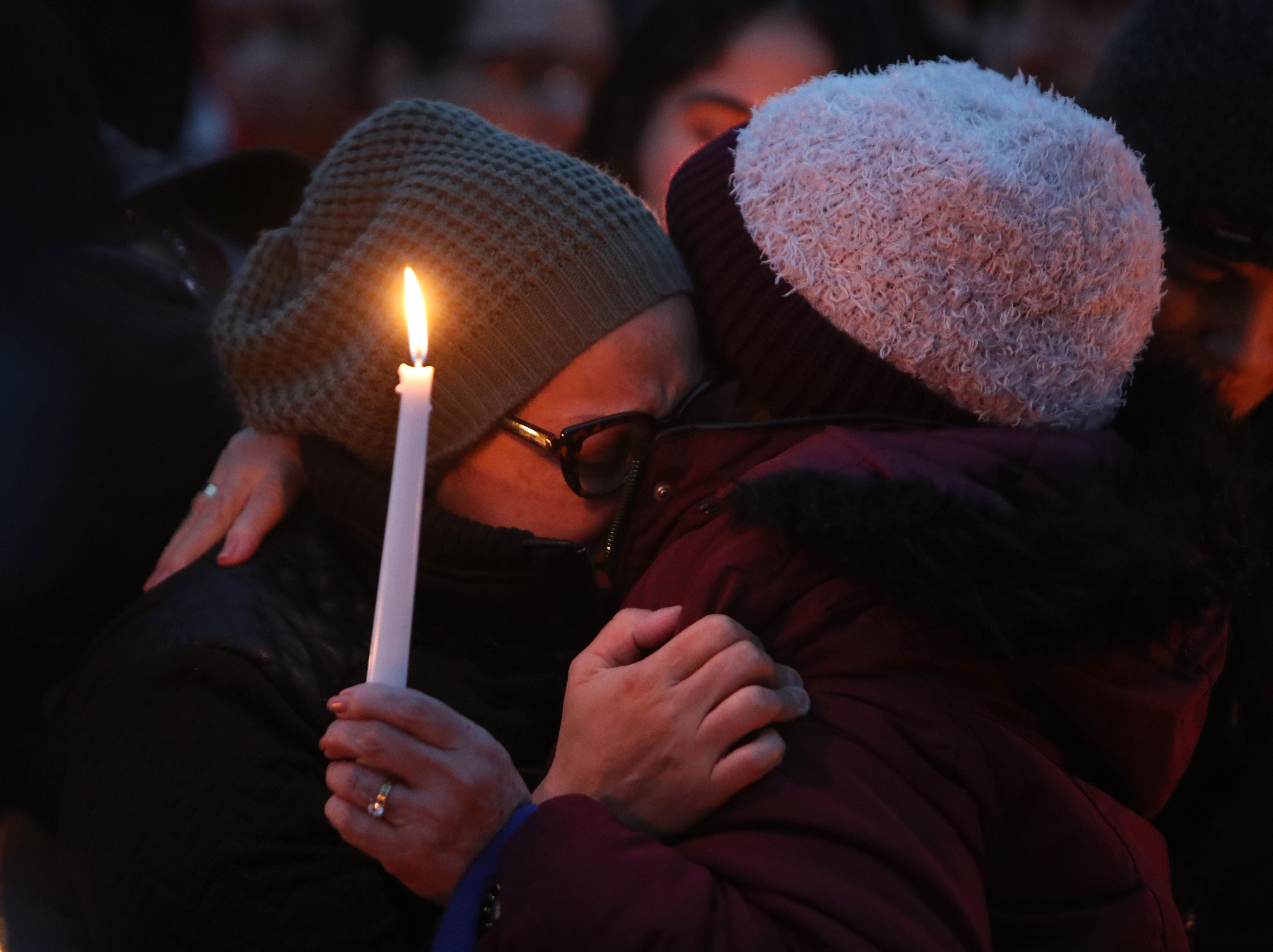 Norma Sanchez of New Rochelle, left, at a vigil for her daughter, Valerie Reyes at Glen Island Park in New Rochelle Feb. 7, 2019. Reyes body was found in Greenwich, Conn. Feb, 5.