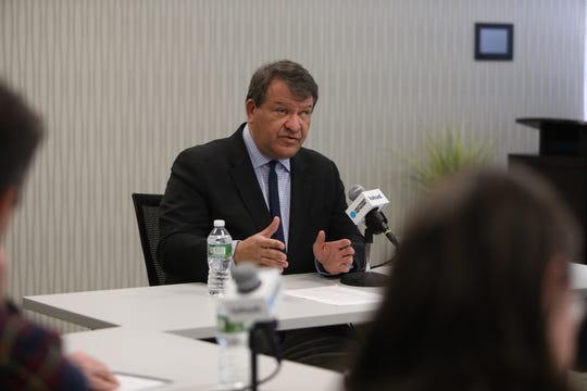 County Executive George Latimer speaks to reporters and editors at the The Journal News / lohud offices in White Plains Feb. 7, 2019.