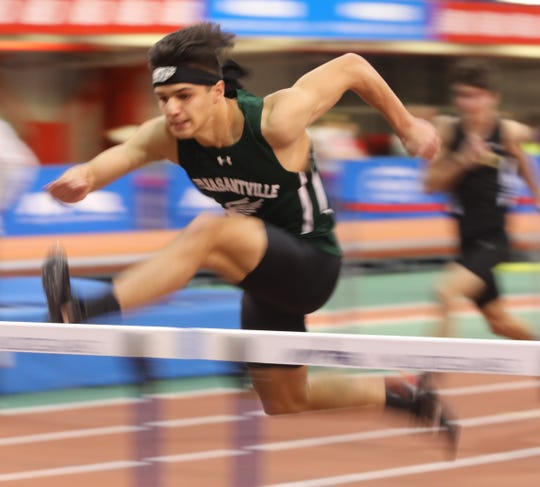 Pleasantville's Adrian Rippstein wins the Boys 55 Meter Hurdles during the Section 1 Class B track & field Championships at the Armory in Manhattan Feb. 6, 2019.