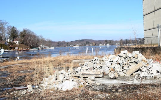 Cinder blocks and other debris dumped on the Swan Cove property on Lake Mahopac Feb. 5,  2019.