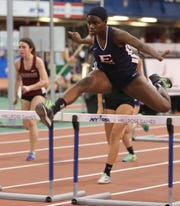 Eastchester's Alya Campbell wins the Girls 55 Meter Hurdles during the Section 1 Class B track & field Championships at the Armory in Manhattan Feb. 6, 2019.