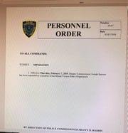 "Personnel order announcing  Joseph Spiezio's ""separation"" from the Mount Vernon Police Department"