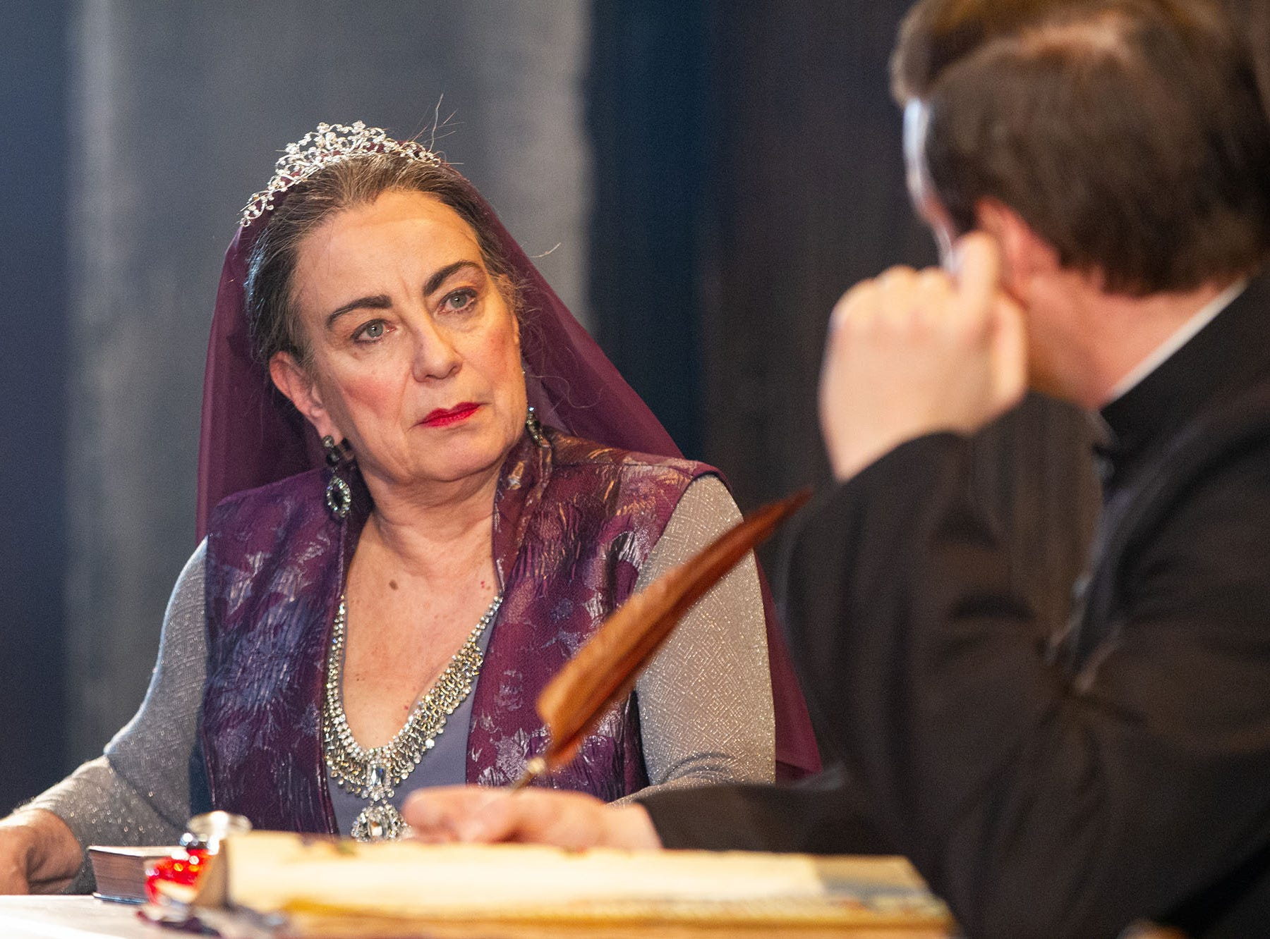 "Mary Martello as Lady Warwick and Michael Doherty appear in ""St. Joan"" at Delaware Theatre Company."