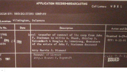 WDEL's 1980s era broadcasting license shows Delmarva Broadcasting as it owner.