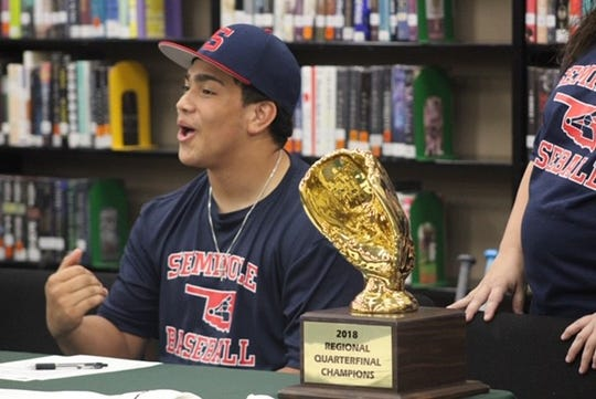 Iowa Park standout Chris Dickens signed to play college baseball at Seminole State in Seminole, Okla. Dickens helped lead the Hawks to the Region I-4A finals last season as a junior and was the TRN Diamond Dozen MVP.