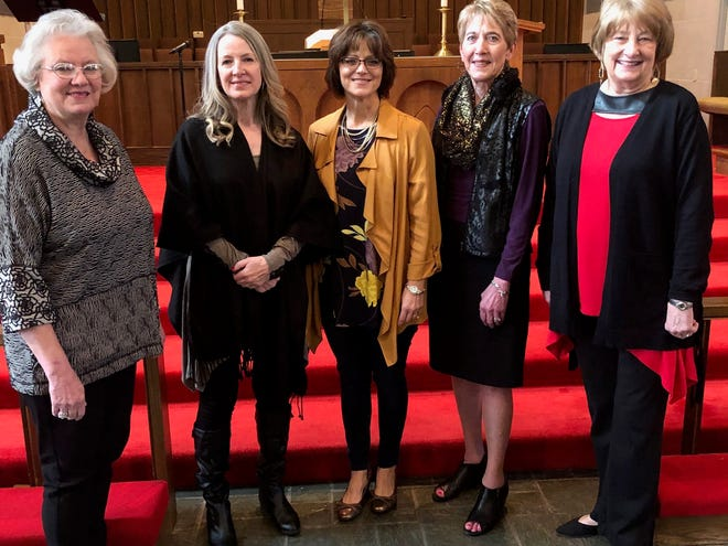 """The featured speakers and singers of Floral Heights United Methodist Church's Spirit Day for Women include, left to right: Patti Milford, Diane Keep, Kathy Howard, Anita Beeks and Janette Hoover. The seventh annual event, held on Jan. 26 at the church at 2214 10th St., was a huge success. Author and speaker Howard addressed the audience of more than 150 women with the theme """"The Game of Life: It's No Trivial Pursuit."""" Every year the church offers Spirit Day for Women as a time for women of the community to fellowship together, sing together, share a meal and hear an inspirational message."""