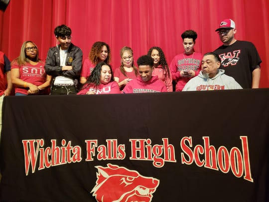 Wichita Falls High School senior A.J. Byrd signed a letter of intent to play football at Southern Nazarene University on Wednesday.