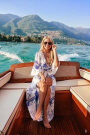 Influencer Lindsay Silberman, who blogs about luxury travel, seen at Lake Como.