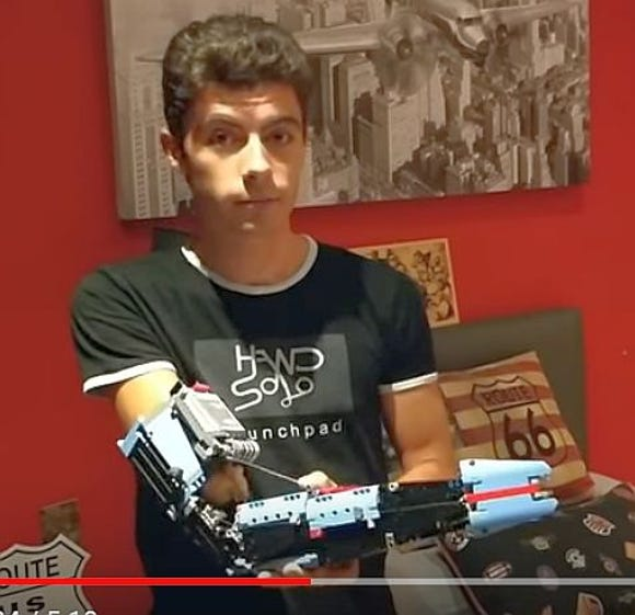 David Aguilar, 19, has used Lego pieces to build a robotic prosthetic arm after being born without a right forearm.