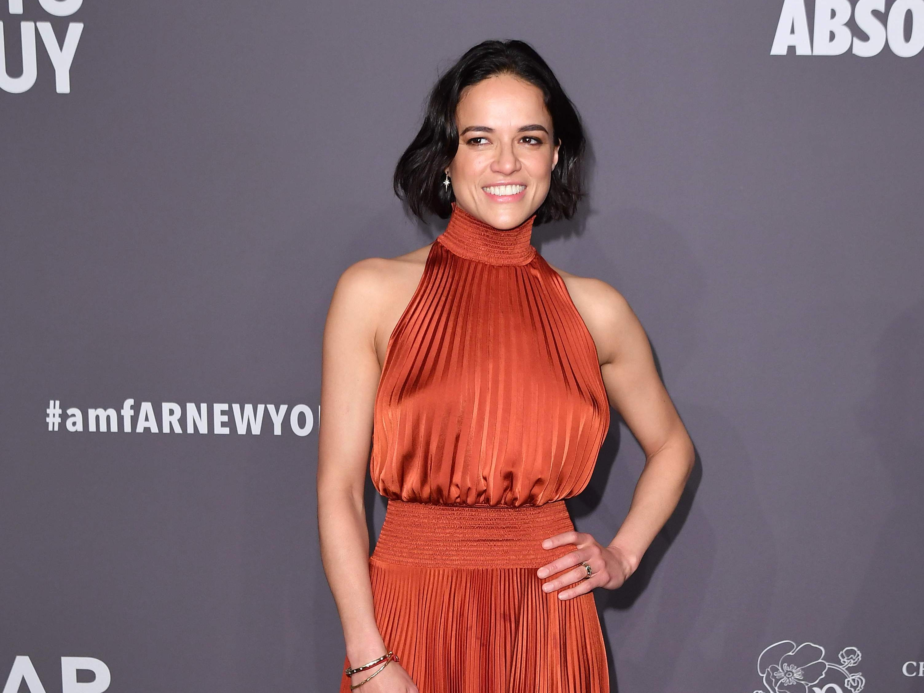 Actress Michelle Rodriguez arrives to attend the amfAR Gala New York at Cipriani Wall Street in New York City on February 6, 2019. (Photo by ANGELA WEISS / AFP)ANGELA WEISS/AFP/Getty Images ORIG FILE ID: AFP_1D4681