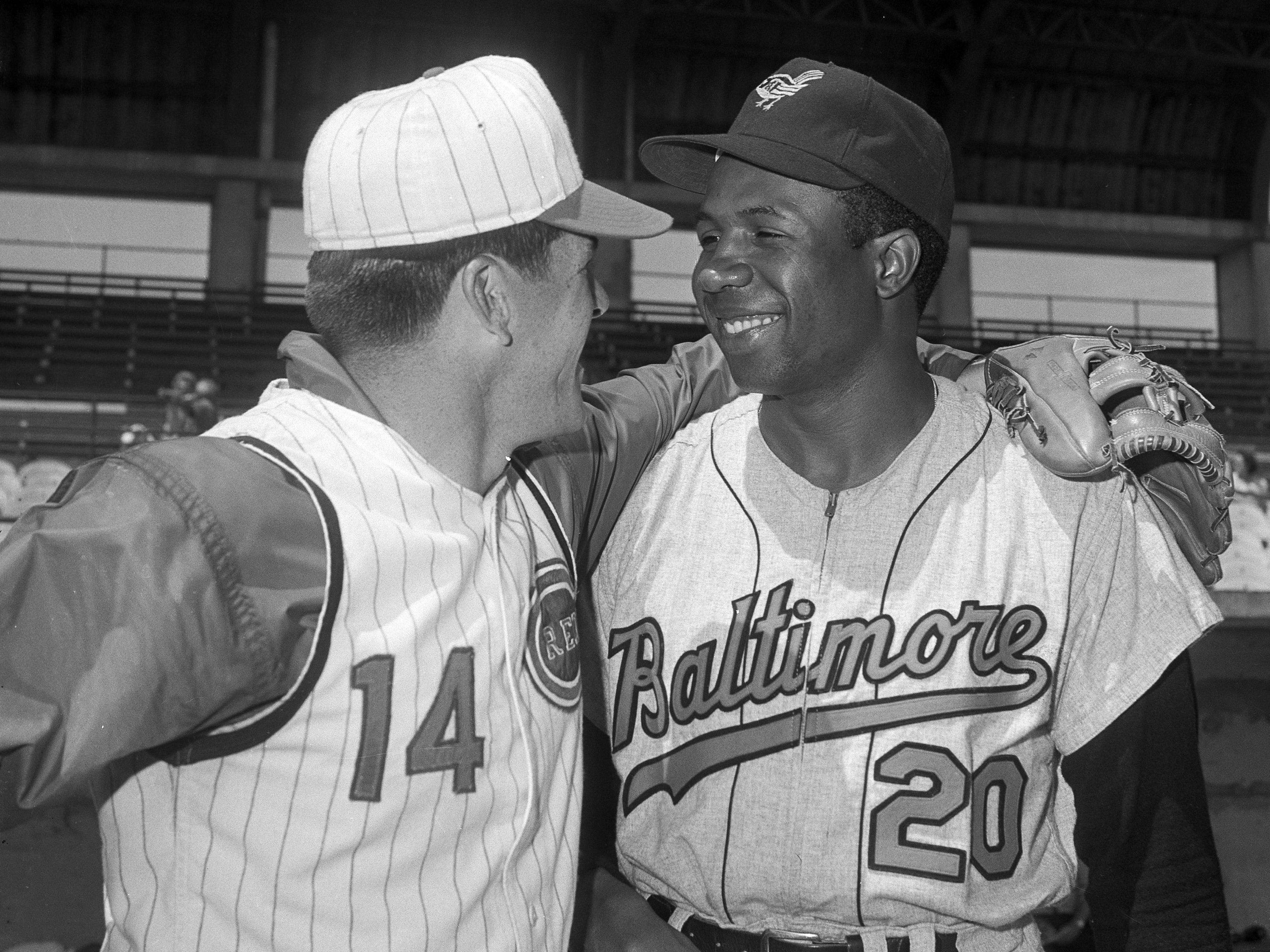 Frank Robinson with the all-time hit king Pete Rose in a 1966 photo.