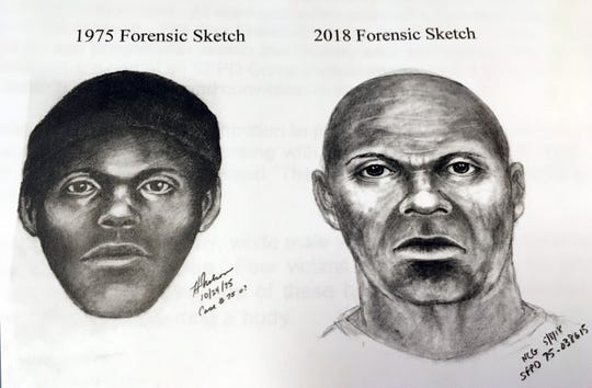 "This pair of sketches provided by the San Francisco Police Department, Wednesday, Feb. 6, 2019, shows what a serial killer might look like now in a cold case involving at least five stabbing deaths of gay men in the mid-1970s in San Francisco. The killer was dubbed the ""Doodler"" after he told a person who later became a victim and survived that he was a cartoonist. It's one of several cases being re-examined after the capture last year of the ""Golden State Killer"" through DNA analysis."