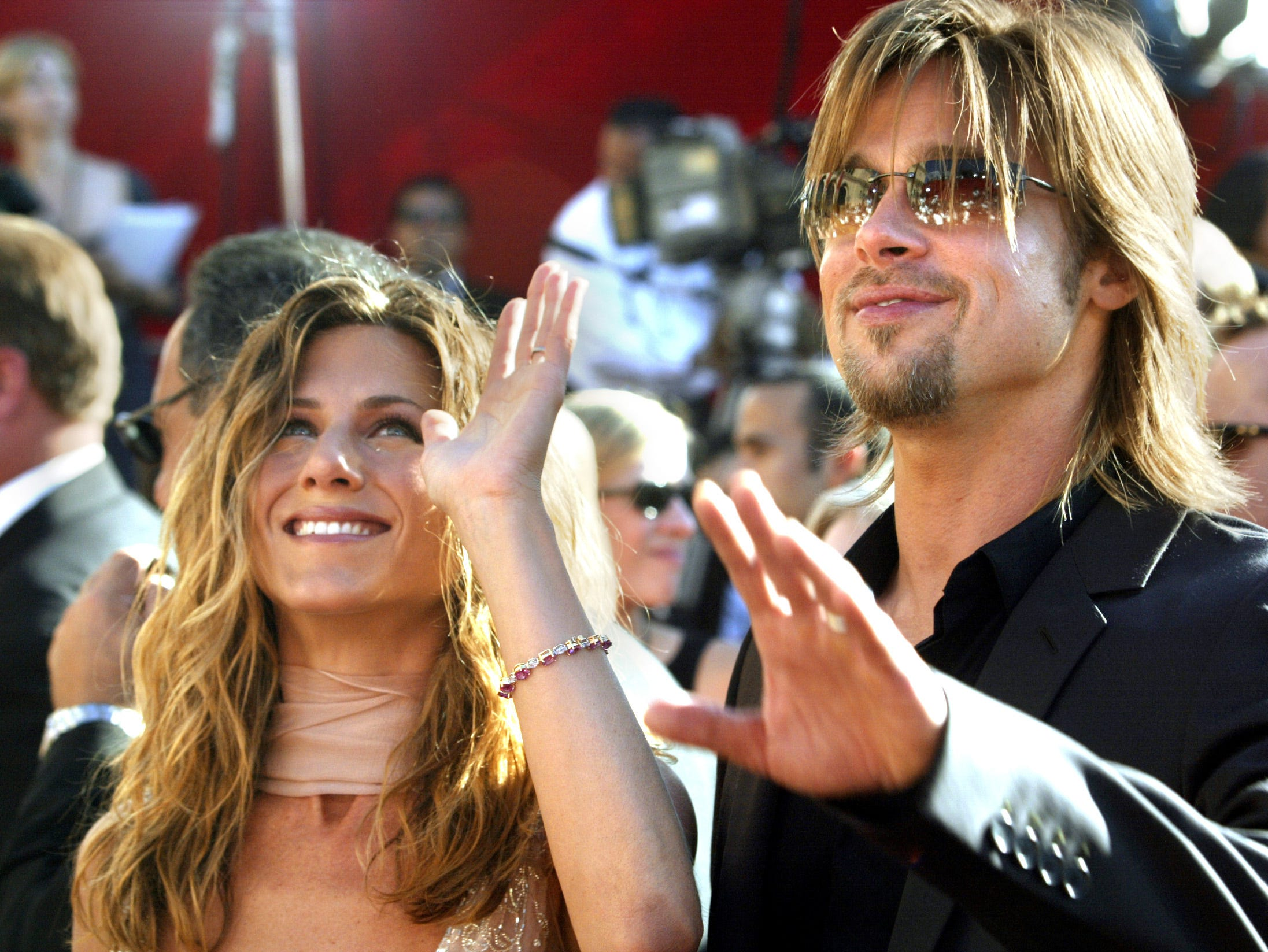Pitt was once again by Aniston's side as she walked the carpet at the 2002 Emmys.