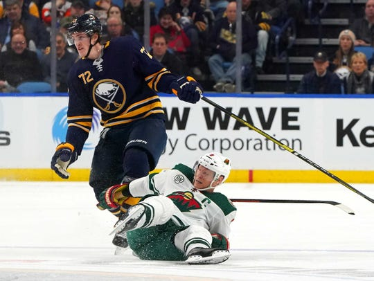 Minnesota Wild center Mikko Koivu (9) tore his ACL and meniscus after this collision with Buffalo Sabres right wing Tage Thompson during thei first quarter of their Feb. 5 game.