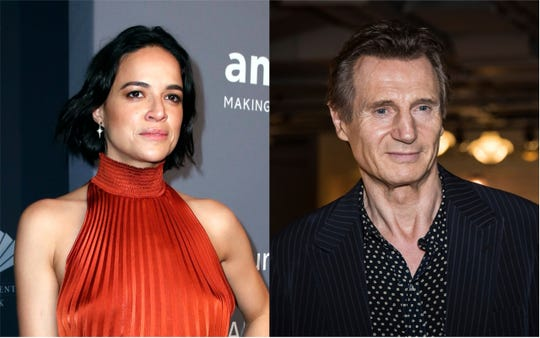 """Michelle Rodriguez came to the defense of her """"Widows"""" co-star Liam Neeson following a shocking story her told about seeking revenge after the rape of a loved one."""
