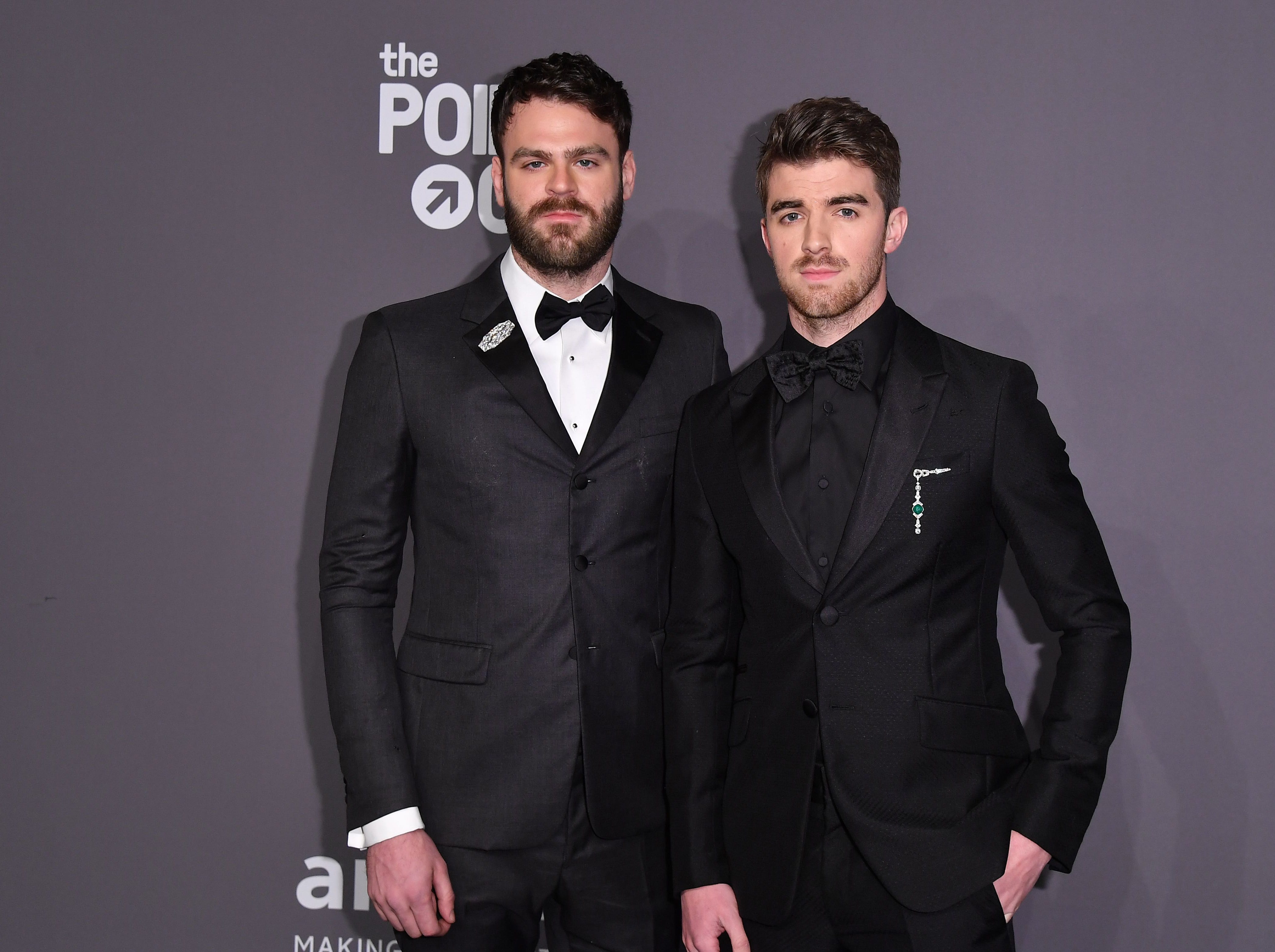 The Chainsmokers musicians Alex Pall (L) and Andrew Taggart (R) arrive at The amfAR Gala New York, the Foundations 21st annual benefit for AIDS research during New York Fashion Week at Cipriani Wall Street on February 6, 2019 in New York. (Photo by ANGELA WEISS / AFP)ANGELA WEISS/AFP/Getty Images ORG XMIT: The Found ORIG FILE ID: AFP_1D46DY