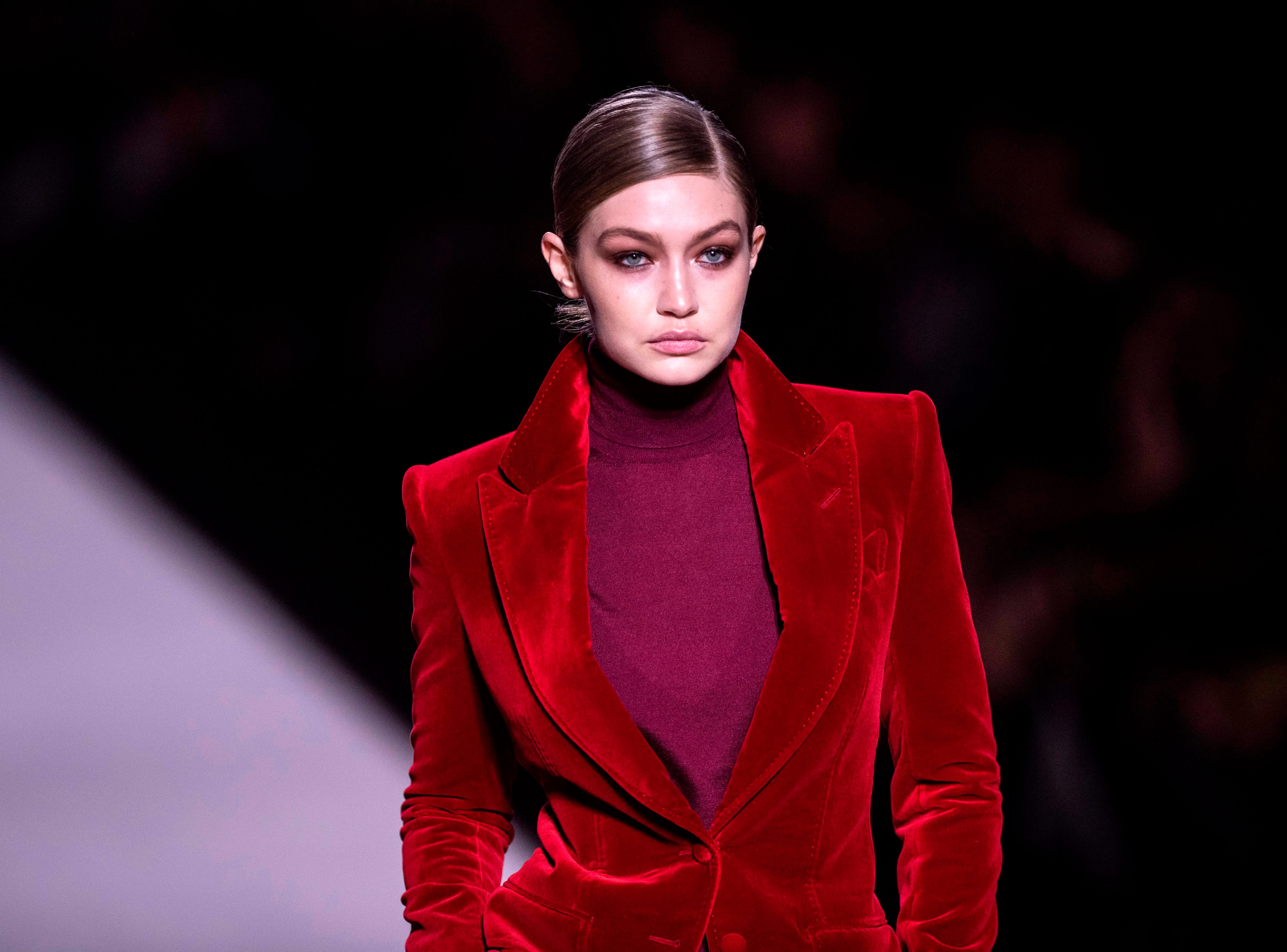 US model Gigi Hadid walks the runway during the Tom Ford fashion show at New York Fashion Week on February 6, 2019 in midtown Manhattan, New York City.