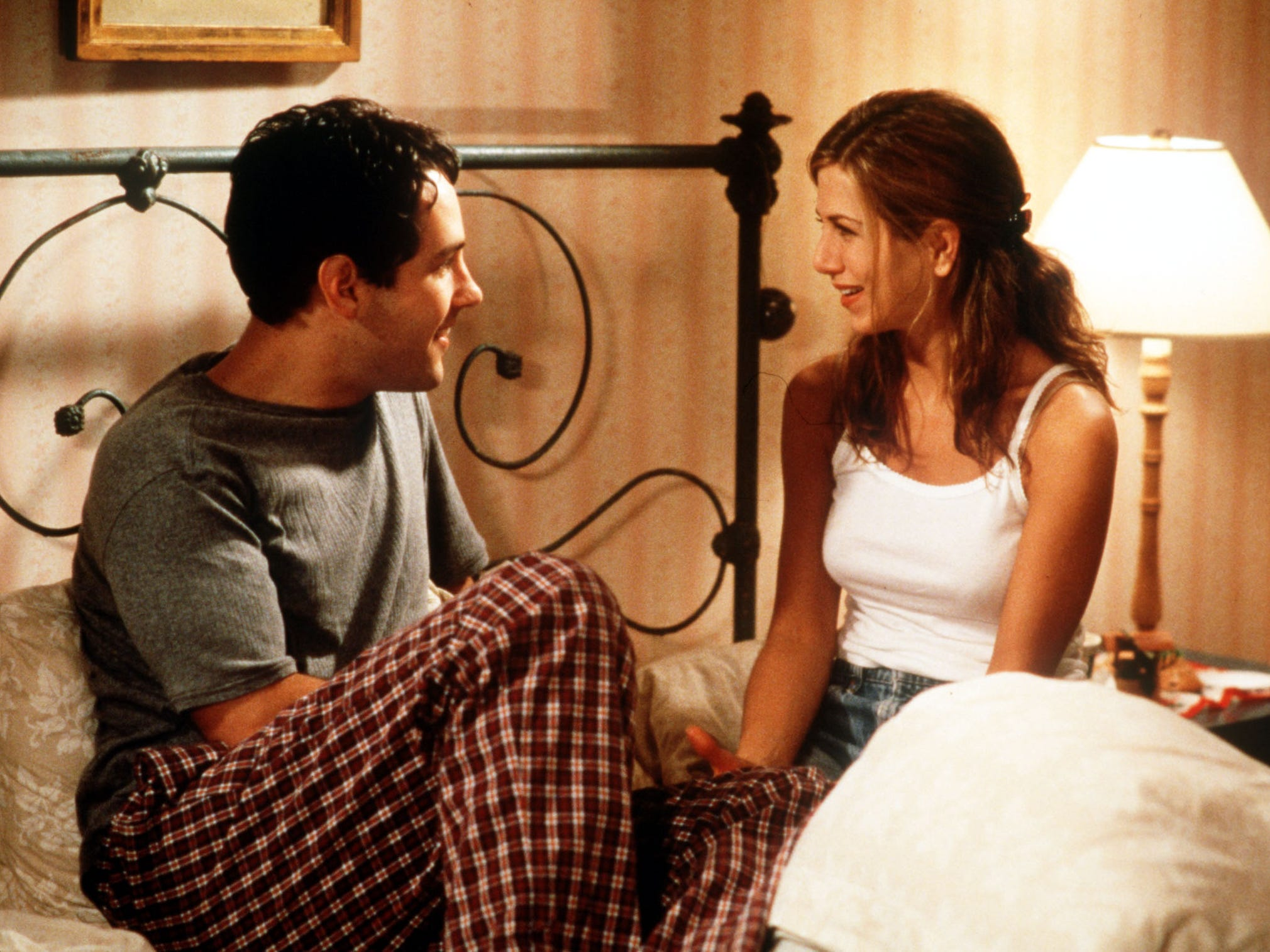 """In 1998's """"the Object of My Affection,"""" Aniston starred opposite Paul Rudd as a pregnant woman who falls for her gay best friend."""