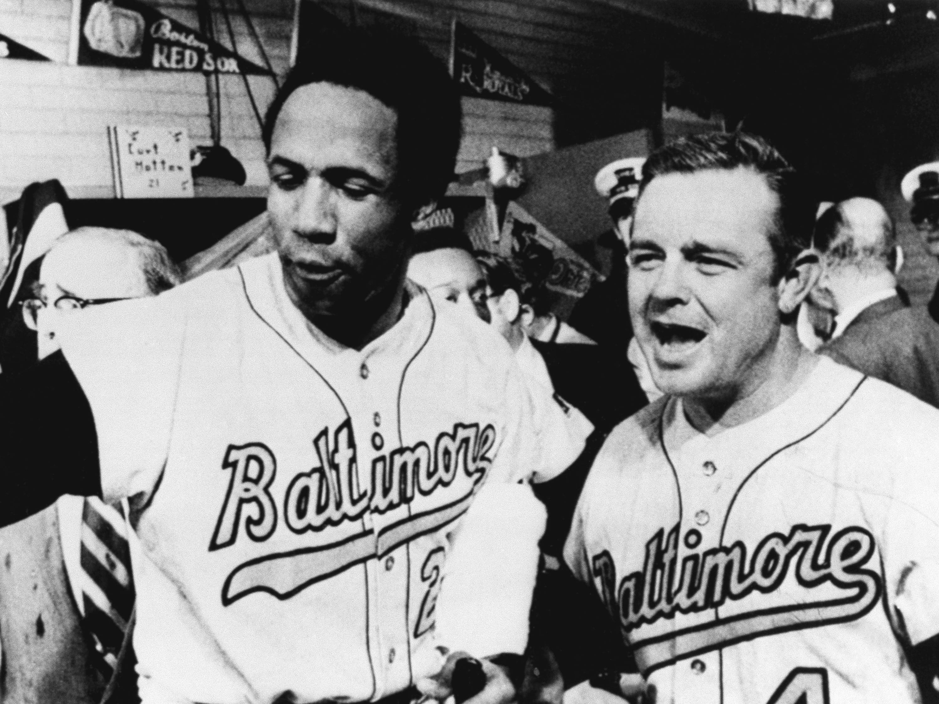 Orioles manager Earl Weaver, right, and outfielder Frank Robinson celebrate following Baltimore's win over the Minnesota Twins to win the American League pennant in 1986.