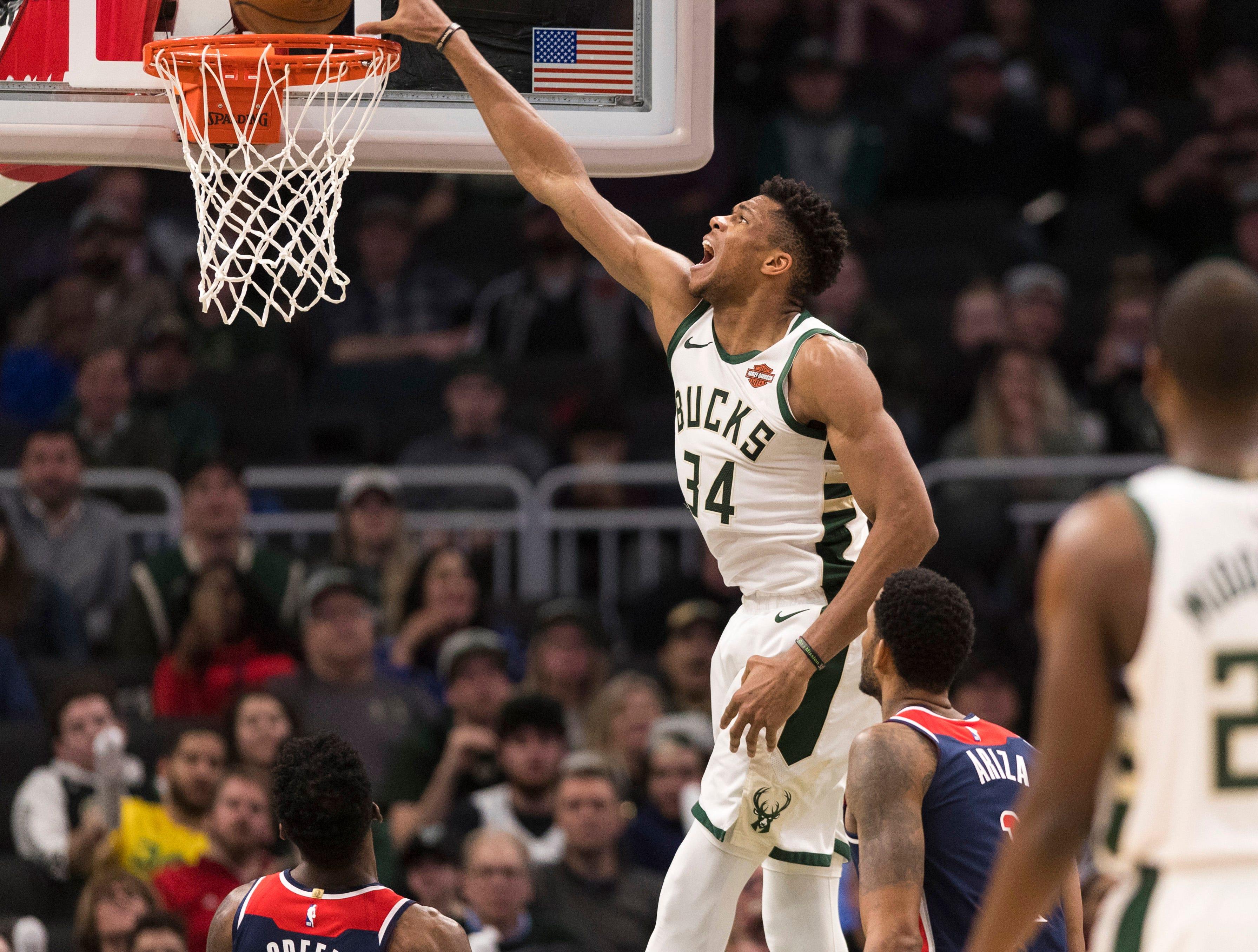 Feb. 6: Milwaukee Bucks forward Giannis Antetokounmpo dunks during the third quarter against the Washington Wizards.