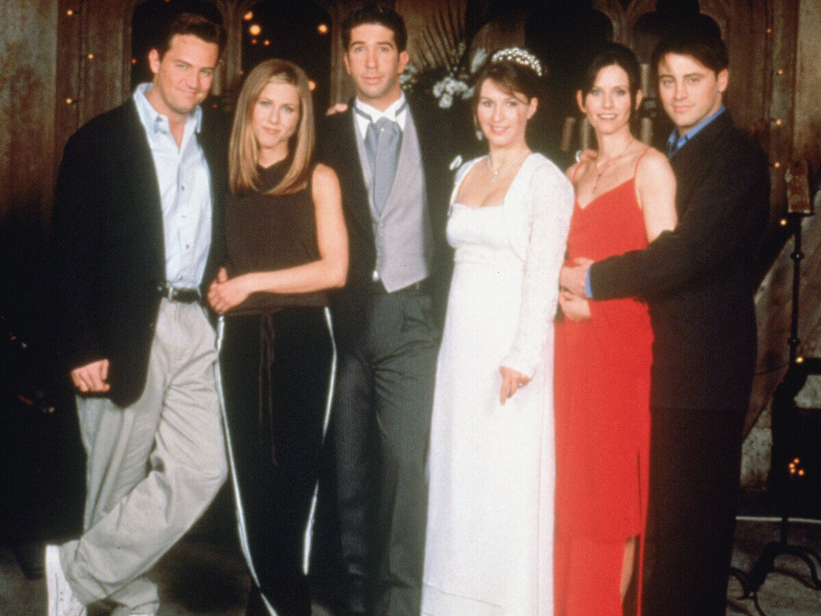 """1998's pivotal Season 4 finale of """"Friends,"""" shook up the Ross-Rachel dynamic once again when he accidentally said """"I take thee, Rachel"""" at his wedding to Emily (Helen Baxendale, center). In order to to save that relationship, Ross (David Schwimmer) agreed to her demand that he cut Rachel out of his life. That didn't last long."""
