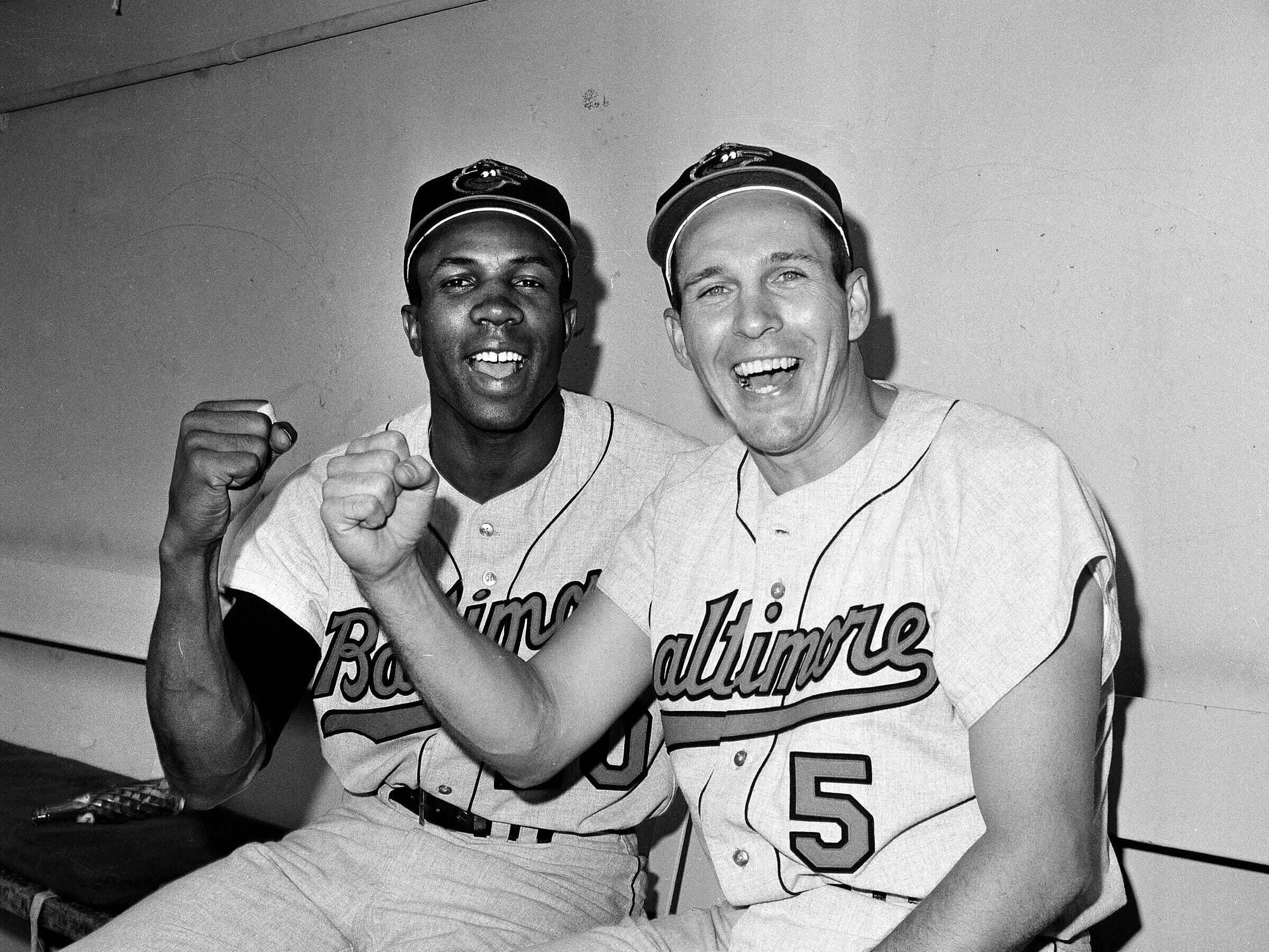 Frank Robinson and Orioles Hall of Famer Brooks Robinson in a 1966 photo.