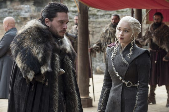 "Kit Harington and Emilia Clarke in the Season 7 finale of ""Game of Thrones."""