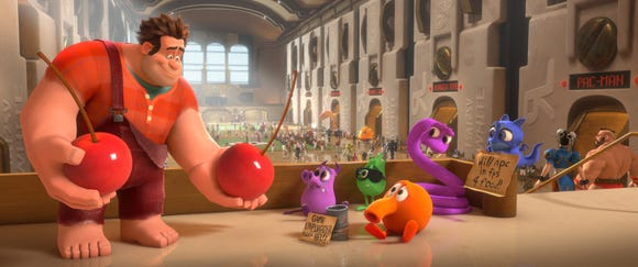 """Orange video-game guy Q*bert (center) played a supporting role in 2012's original """"Wreck-It Ralph.."""""""