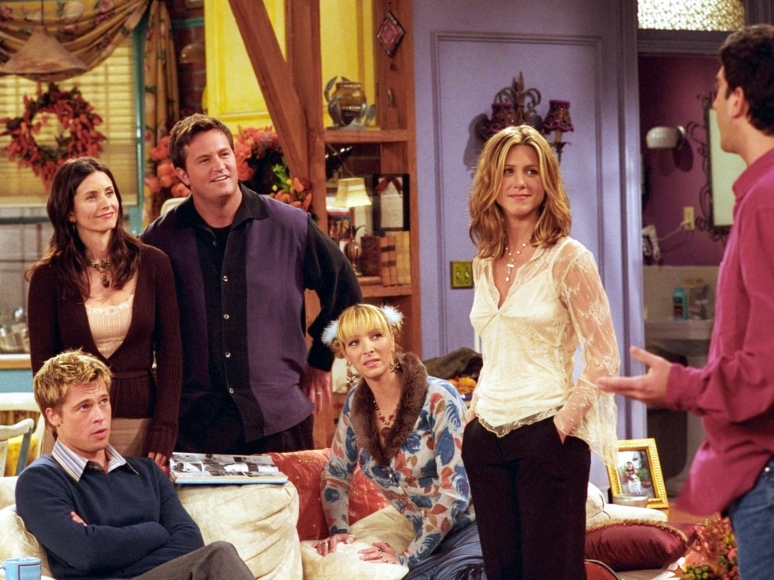 """Pitt guest-starred in the November 2001 Thanksgiving episode of """"Friends,"""" playing a formerly fat classmate of Rachel nursing a grudge against her for how she treated him."""