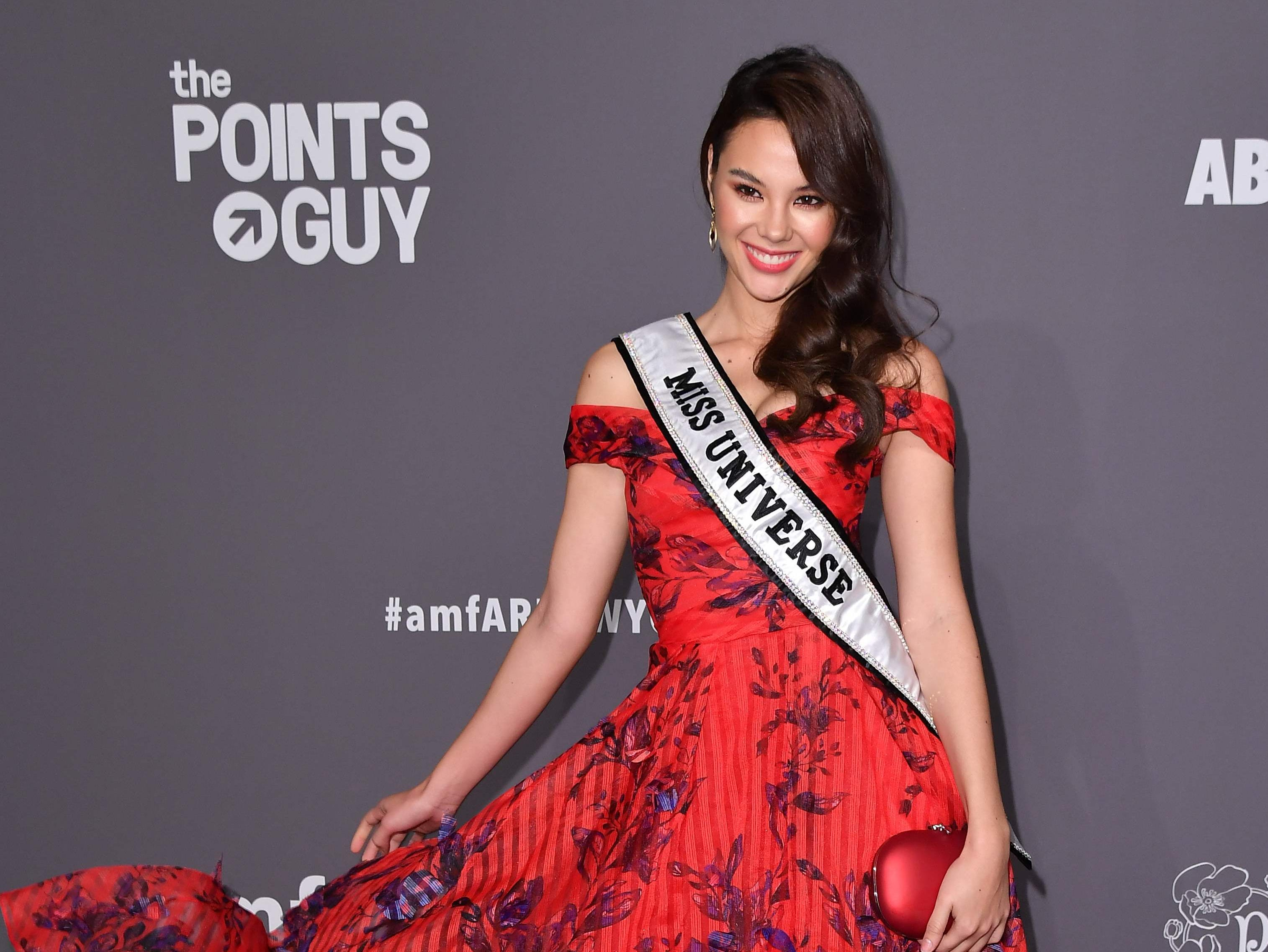 Miss Universe Catriona Gray arrives to attend the amfAR Gala New York at Cipriani Wall Street in New York City on February 6, 2019. (Photo by ANGELA WEISS / AFP)ANGELA WEISS/AFP/Getty Images ORIG FILE ID: AFP_1D46KS