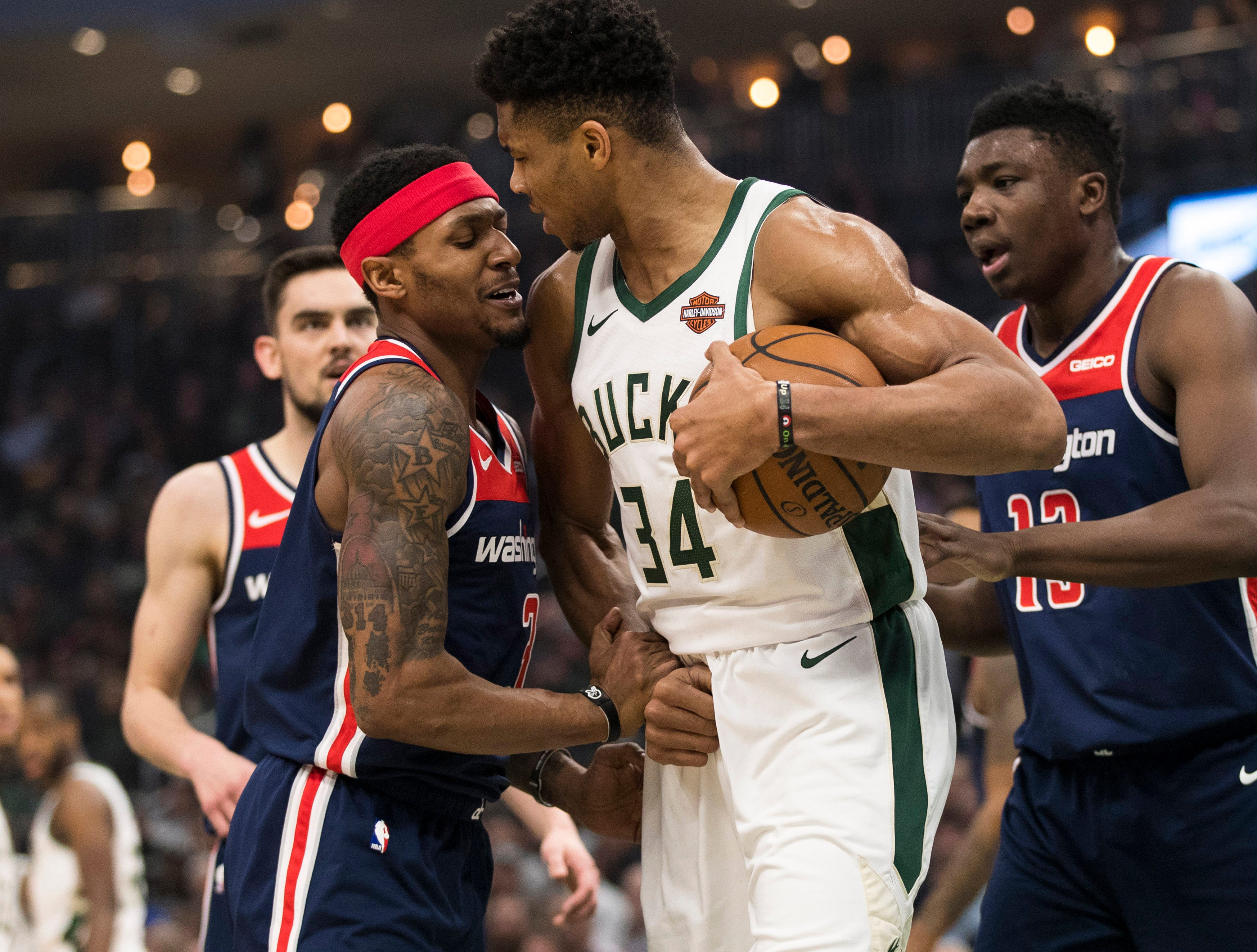 Feb. 6: Washington Wizards guard Bradley Beal (3) argues with Milwaukee Bucks forward Giannis Antetokounmpo (34) following a play during the first quarter at Fiserv Forum.