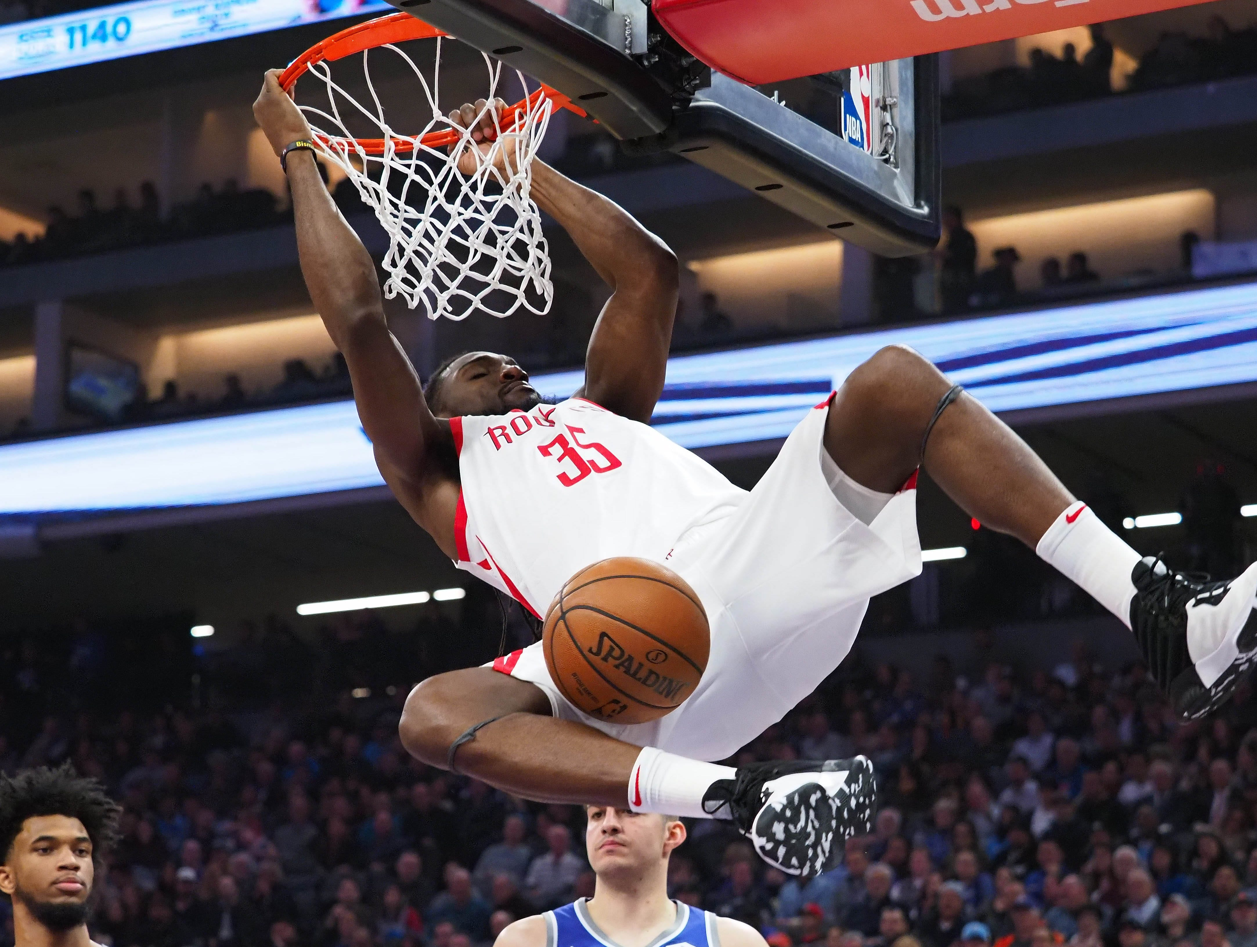 Feb. 6: Houston Rockets forward Kenneth Faried dunks the ball against the Sacramento Kings during the second quarter.