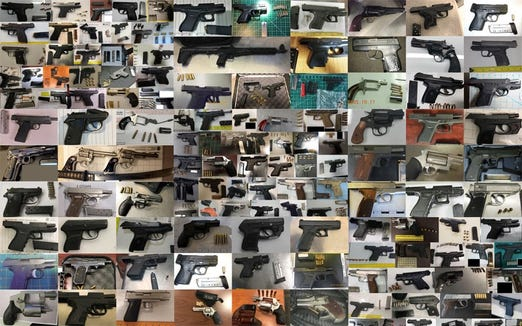 Some of the firearms found at airport checkpoints in 2018.