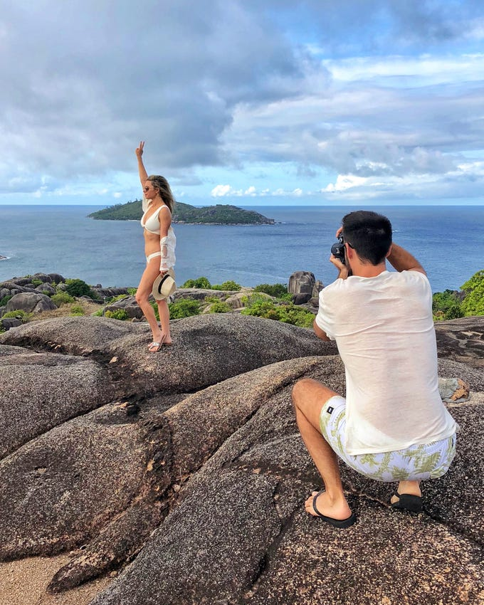 Lindsay Silberman poses for a photo taken by her 'Instagram husband' Matt Silberman on a trip to the Seychelles.