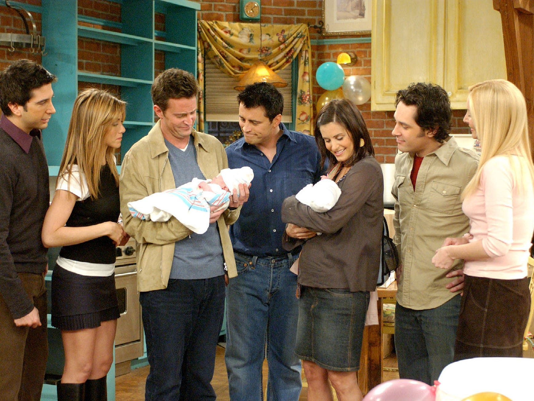 """May 2004 brought the series finale of """"Friends,"""" wrapping a 10-year run. Rachel's story arc ended with her passing on a fashion job in Paris to remain in New York with Ross, or as Phoebe once deemed him, """"her lobster."""""""