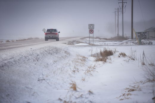 A car travels on 41st on Feb. 7, 2019, in Sioux Falls, S.D.