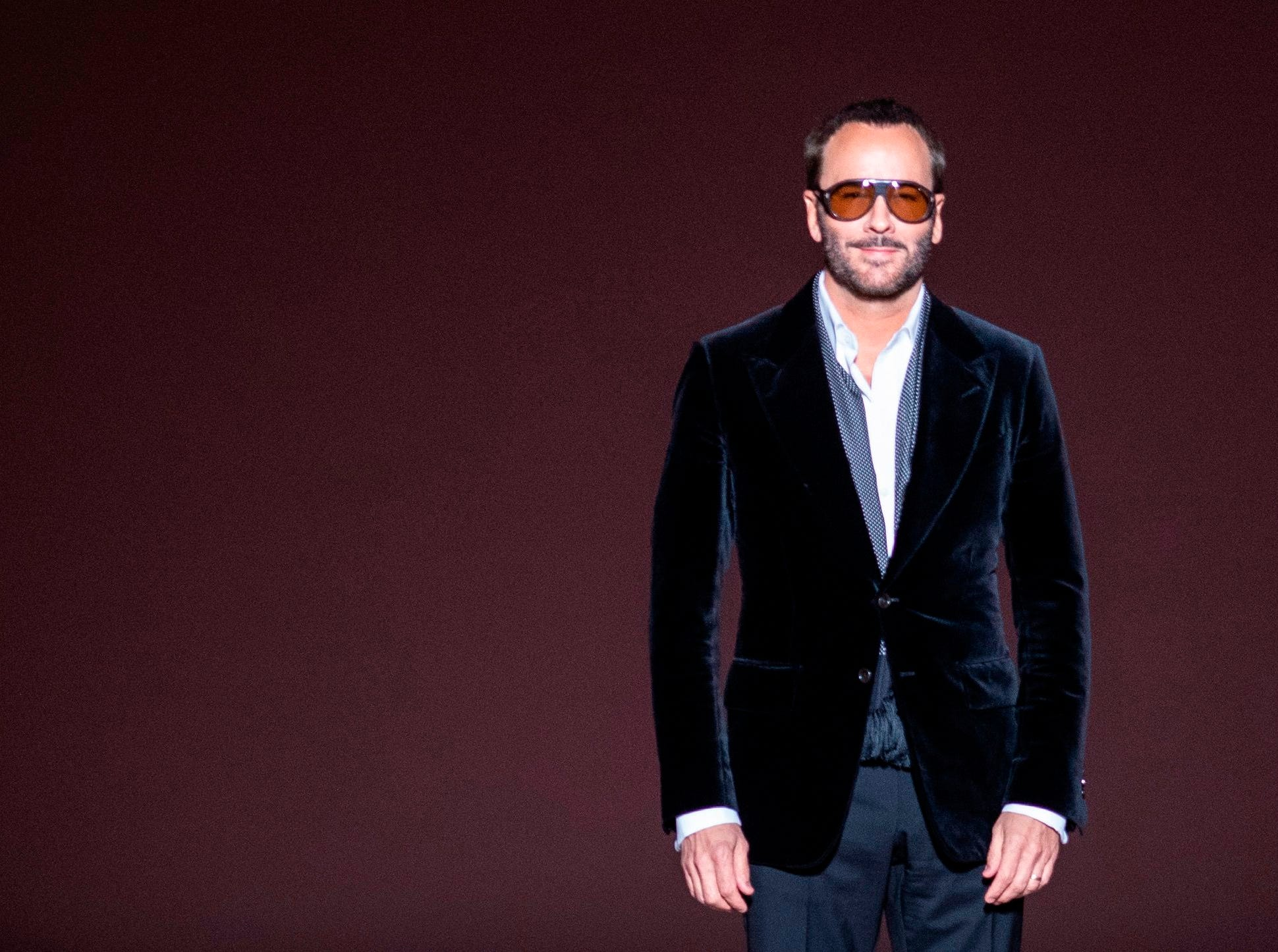 Designer Tom Ford appears on the runway after his fashion show at New York Fashion Week on February 6, 2019 in midtown Manhattan, New York City.