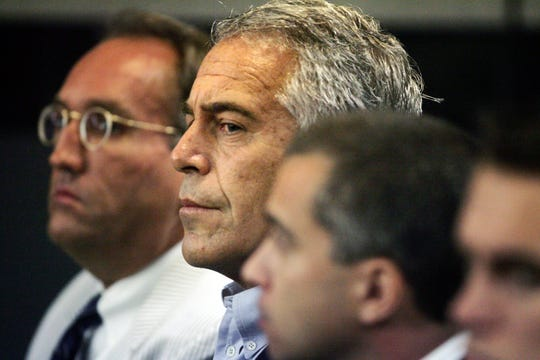 Jeffrey Epstein appears in custody in West Palm Beach, Florida on July 30, 2008.