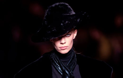 A model walks the runway during the Tom Ford fashion show at New York Fashion Week on February 6, 2019 in midtown Manhattan, New York City.
