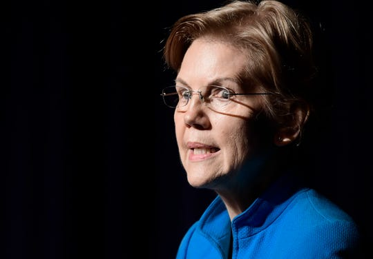 """Sen. Elizabeth Warren, D-Mass., speaks at the """"Community Conversation about Puerto Rico and its Recovery"""" held at the Alejandro Tapia y Rivera Theater, in San Juan, Puerto Rico, on Jan. 22, 2019."""